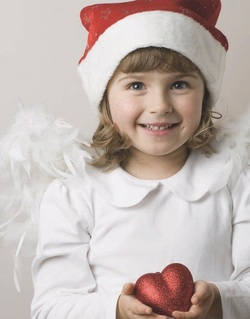 girl with christmas hat