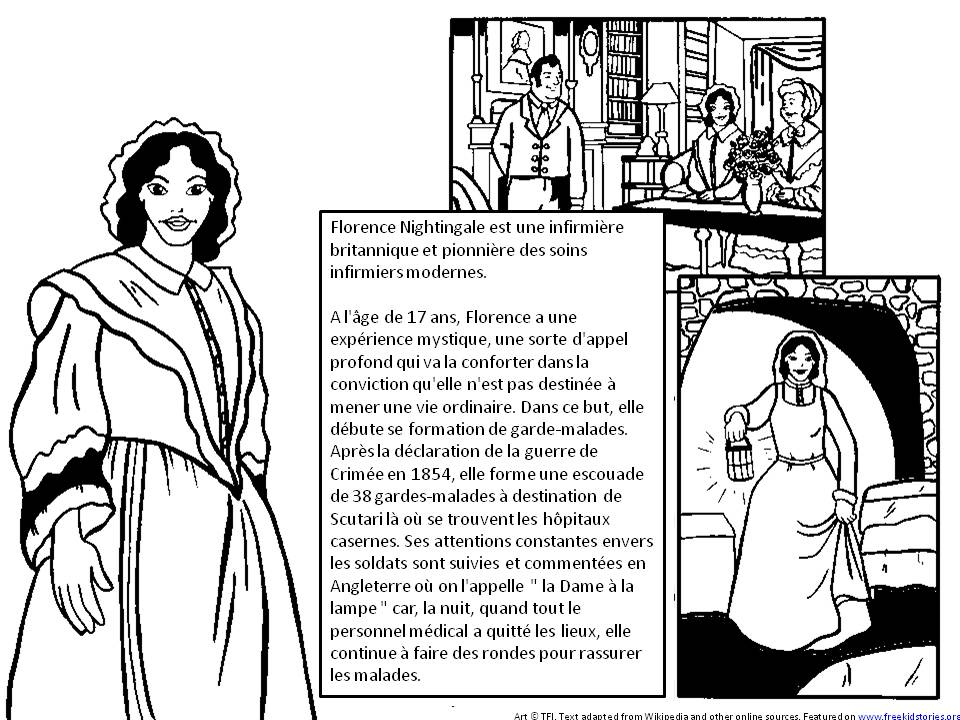 Florence Nightingale heros histoire enfants coloriage